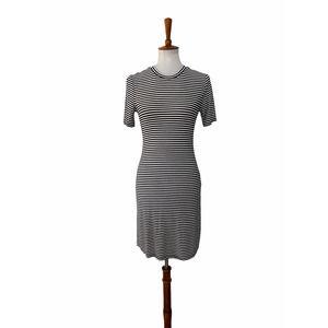 Privacy Please Striped Dress Black White Medium